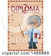 Clipart Of A Science Teacher On A Diploma Royalty Free Vector Illustration by visekart