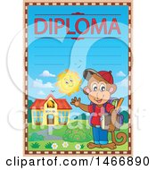 Clipart Of A Monkey Student Diploma Design Royalty Free Vector Illustration by visekart