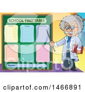 Male Scientist Or Professor Holding A Pointer Stick By A Timetable