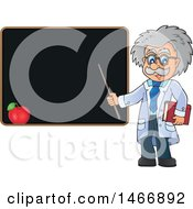 Male Scientist Or Professor Holding A Pointer Stick By A Blackboard