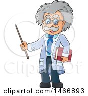 Clipart Of A Male Scientist Or Professor Holding A Pointer Stick Royalty Free Vector Illustration
