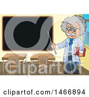 Clipart Of A Male Scientist Or Professor Holding A Pointer Stick By A Black Board Royalty Free Vector Illustration by visekart