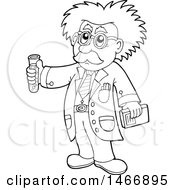 Clipart Of A Black And White Science Teacher Holding A Test Tube Royalty Free Vector Illustration by visekart