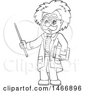 Clipart Of A Black And White Male Scientist Or Professor Holding A Pointer Stick Royalty Free Vector Illustration by visekart