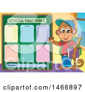 Monkey Student By A School Time Table