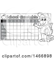 Grayscale Monkey Student By A School Time Table