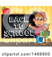 Clipart Of A Monkey Student By A Back To School Blackboard Royalty Free Vector Illustration