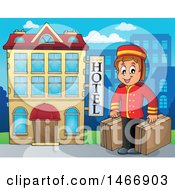 Clipart Of A Porter Carrying Luggage By A Hotel Building Royalty Free Vector Illustration