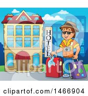 Clipart Of A Male Traveler By A Hotel Building Royalty Free Vector Illustration