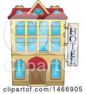Clipart Of A Hotel Building Royalty Free Vector Illustration