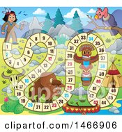 Clipart Of A Game Design With A Native American Leading To A Tipi Royalty Free Vector Illustration by visekart