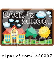 Clipart Of A Blackboard With Back To School Text And Art Royalty Free Vector Illustration