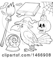 Clipart Of A Black And White Crow And Witch Items Royalty Free Vector Illustration