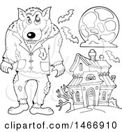 Clipart Of A Black And White Werewolf And Haunted House Royalty Free Vector Illustration by visekart