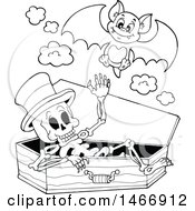 Black And White Skeleton In A Coffin And Vampire Bat