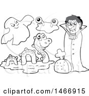 Clipart Of A Black And White Ghost Monster And Vampire Royalty Free Vector Illustration