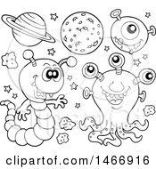 Clipart Of Black And White Aliens Royalty Free Vector Illustration by visekart