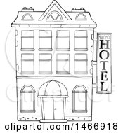 Clipart Of A Black And White Hotel Building Royalty Free Vector Illustration