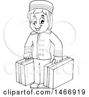 Black And White Hotel Porter Carrying Luggage