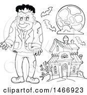 Clipart Of A Black And White Frankenstein By A Haunted House Royalty Free Vector Illustration