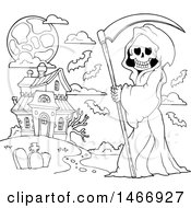 Clipart Of A Black And White Grim Reaper And Haunted House Royalty Free Vector Illustration by visekart
