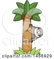 Clipart Of A Happy Sloth Peeking Around A Palm Tree Royalty Free Vector Illustration by Cory Thoman
