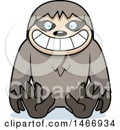Clipart Of A Happy Sloth Sitting Royalty Free Vector Illustration by Cory Thoman