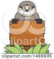 Clipart Of A Happy Sloth Over A Blank Wood Sign Royalty Free Vector Illustration by Cory Thoman