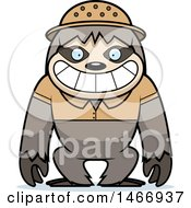 Clipart Of A Happy Explorer Sloth Royalty Free Vector Illustration by Cory Thoman