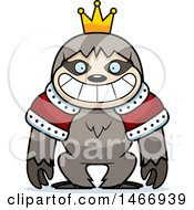 Clipart Of A Grinning King Sloth Royalty Free Vector Illustration by Cory Thoman