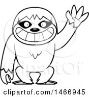 Clipart Of A Lineart Friendly Sloth Waving Royalty Free Vector Illustration