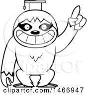 Clipart Of A Lineart Happy Professor Or Graduate Sloth Royalty Free Vector Illustration