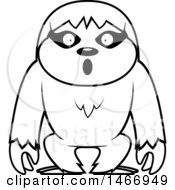 Clipart Of A Lineart Surprised Sloth Royalty Free Vector Illustration