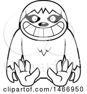 Clipart Of A Lineart Happy Sloth Sitting Royalty Free Vector Illustration by Cory Thoman