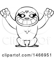 Clipart Of A Lineart Cheering Sloth Royalty Free Vector Illustration by Cory Thoman