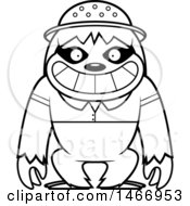 Clipart Of A Lineart Happy Explorer Sloth Royalty Free Vector Illustration by Cory Thoman