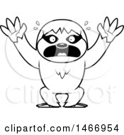Clipart Of A Lineart Scared Sloth Royalty Free Vector Illustration by Cory Thoman
