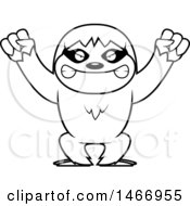 Clipart Of A Lineart Mad Sloth Royalty Free Vector Illustration by Cory Thoman