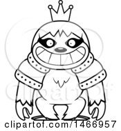 Clipart Of A Lineart Grinning King Sloth Royalty Free Vector Illustration by Cory Thoman
