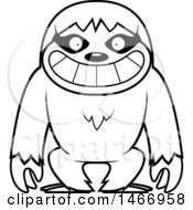 Clipart Of A Lineart Grinning Sloth Royalty Free Vector Illustration by Cory Thoman