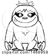 Clipart Of A Lineart Dizzy Or Drunk Sloth Royalty Free Vector Illustration by Cory Thoman