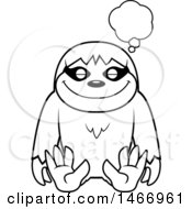 Clipart Of A Lineart Dreaming Sloth Royalty Free Vector Illustration by Cory Thoman