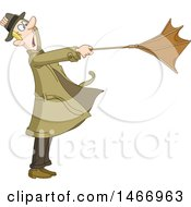 Clipart Of A Man Caught In A Wind Storm With His Umbrella Turned Out Royalty Free Vector Illustration
