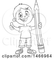 Clipart Of A School Boy Giving A Thumb Up And Holding A Giant Pencil Black And White Royalty Free Vector Illustration