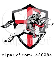 Clipart Of A Horseback Knight Leaping Over An English Flag Shield With A Golf Club In Hand Royalty Free Vector Illustration