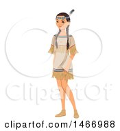 Clipart Of A Native American Teenage Girl In Traditional Dress Royalty Free Vector Illustration