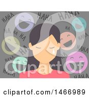 Clipart Of A Teenage Girl Crying With Laughing Faces Taunting Her Royalty Free Vector Illustration by BNP Design Studio