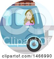 Clipart Of A Teenage Girl Sitting In A Car While Moving Away Royalty Free Vector Illustration by BNP Design Studio