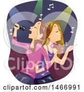 Clipart Of Teenage Girls Singing Karaoke Back To Back Royalty Free Vector Illustration by BNP Design Studio