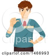 Clipart Of A Teenage Guy Running For Student Council Royalty Free Vector Illustration by BNP Design Studio